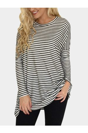 YOINS Multi Stripe Round Neck Long Sleeves T-shirts