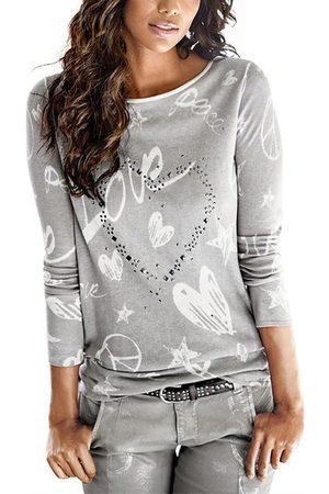 YOINS Print Hot Drilling Round Neck Long Sleeves T-shirt