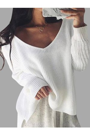 YOINS Women Long Sleeve - V-neck Long Sleeves Loose Plunge Knitted Sweaters