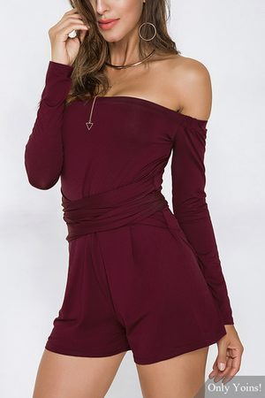 YOINS Off The Shoulder Long Sleeves Playsuit with Lace-up Design
