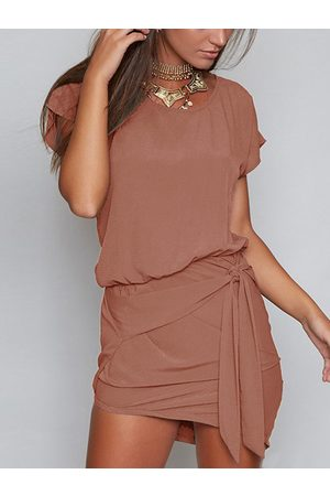 YOINS Round Neck Self-tie Design Mini Dress