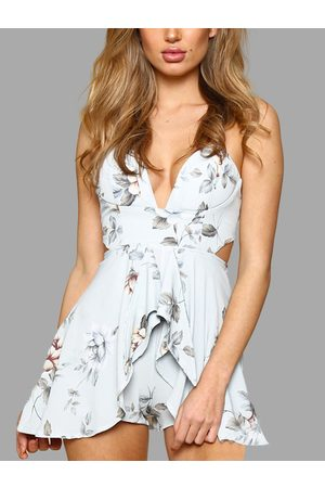 YOINS Light Random Floral Print Cut Out Playsuit