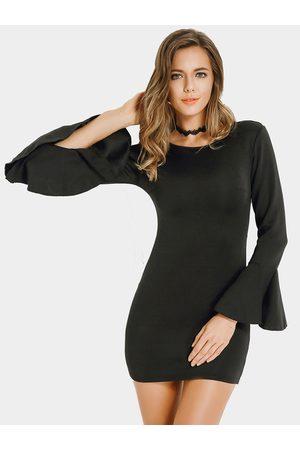 YOINS Women Bodycon Dresses - Flared Sleeves Backless Mini Bodycon Dress