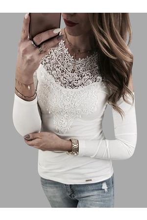 YOINS White Lace Insert Cold Shoulder Long Sleeves Sexy T-shirt