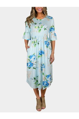 YOINS Women Printed Dresses - Floral Print Round Neck Flared Sleeves Midi Dress