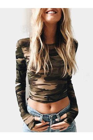 YOINS Green Camouflage Round Neck Long Sleeves Crop Top