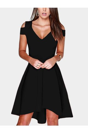 YOINS Women Party Dresses - Cut Out Cold Shoulder V-neck Mini Dress