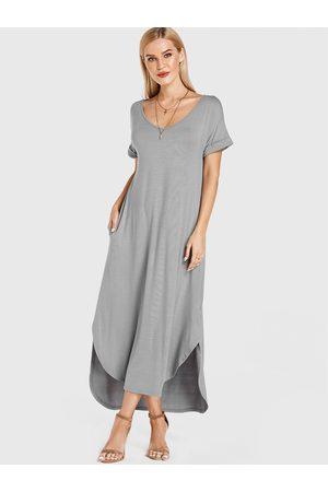 YOINS V-neck Short Sleeve Curved Hem Long Dress