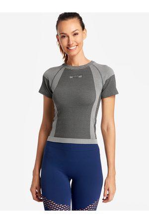 YOINS Stripe Details Letter Print Crew Neck Short Sleeves Sport T-shirt