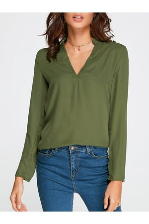 YOINS Women Blouses - Cut Out V-neck Long Sleeves Top