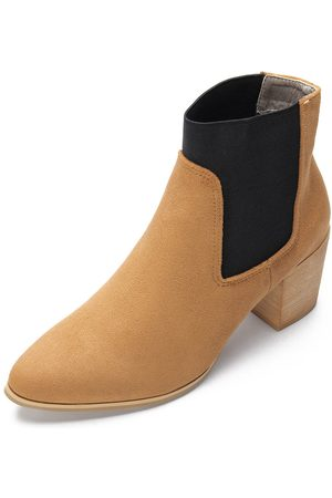 YOINS Women Ankle Boots - Elastic Suede Chunky Heels Short Boots