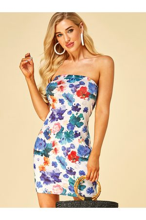 YOINS Floral Print Strapless Bodycon Dress