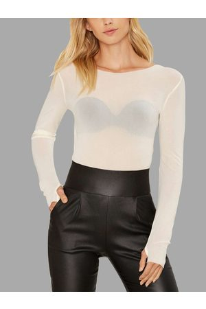YOINS Apricot Sheer-through Bodycon Long Sleeve T-shirt with Mittens