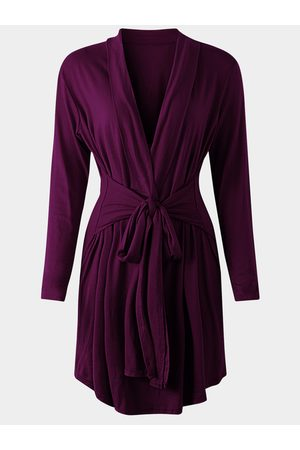 YOINS Lace-up Design V-neck Long Sleeves Drawstring Waist Cardigans
