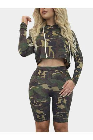 YOINS Camouflage Random Print Fashion Tracksuit