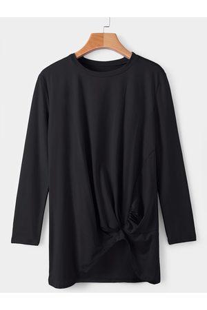 YOINS Round Neck Long Sleeves Irregular Hem T-shirt
