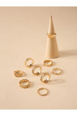 YOINS 9pcs Moon & Star Hollow Design Ring Set