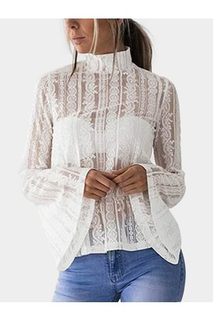 YOINS Women Camisoles - Lace Mock Neck Flared Sleeves Semi Sheer Blouse