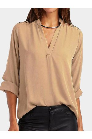 YOINS Cut Out V-neck Long Sleeves Top