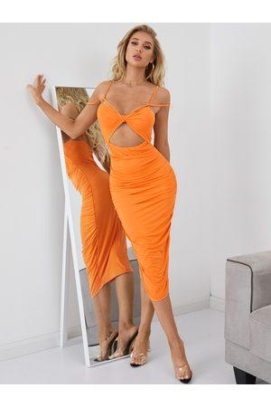 YOINS Double straps Cut out Sleeveless Maxi Dress