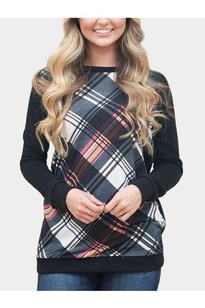 YOINS Women Long Sleeve - Grid Round Neck Long Sleeves T-shirts