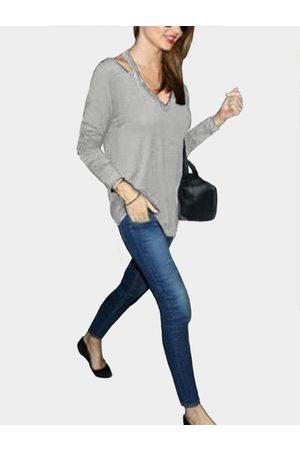 YOINS Women Long Sleeve - Cut Out Pullover Long Sleeves T-shirt