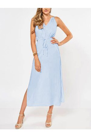 YOINS Sleeveless Back Lace-up Side Split Beach Maxi Dress In Skyblue