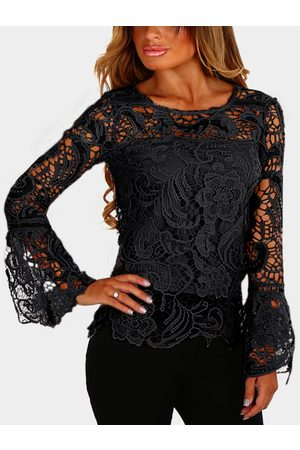 YOINS Women Blouses - See-through Lace Details Round Neck Long Sleeves Top