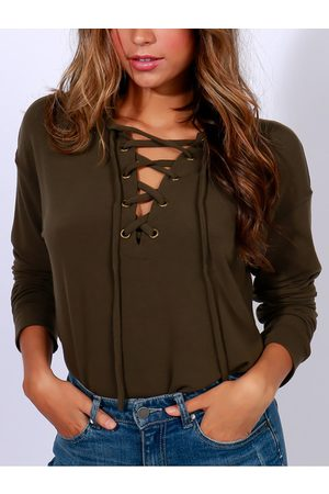 YOINS Army Green Lace-up Front Long Sleeves T-shirts