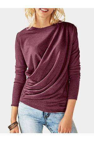YOINS Pleated Design Plain Crew Neck Long Sleeves T-shirts