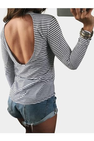 YOINS White Casual Hollow Out Back Round Neck Stripe Tee