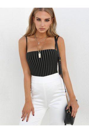 YOINS Black Striped Square Neck Sleeveless Bodysuit