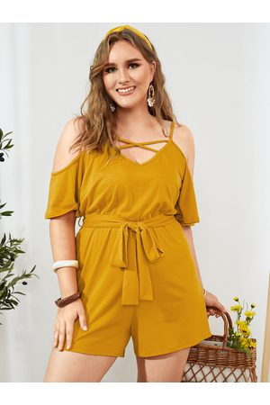 YOINS Plus Size Spaghetti Strap Criss-cross Playsuit