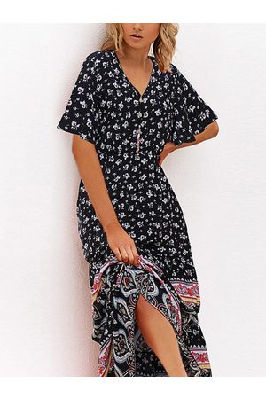 YOINS Tribal Calico Front Button V-neck Dress