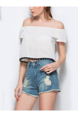 YOINS Sexy Off Shoulder Tassel Embellished Crop Top