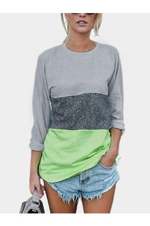 YOINS Green Patchwork Round Neck Long Sleeves T-shirt