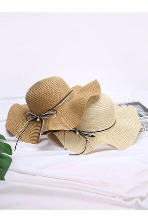 YOINS Women Hats - Faux Pearl Bowknot Decor Staw Hat