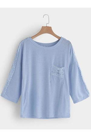 YOINS Sky Floral Lace Insert Patch Pocket T-shirt