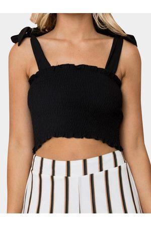 YOINS Women Camisoles - Shirring Off Shoulder Crop Camis & Vests