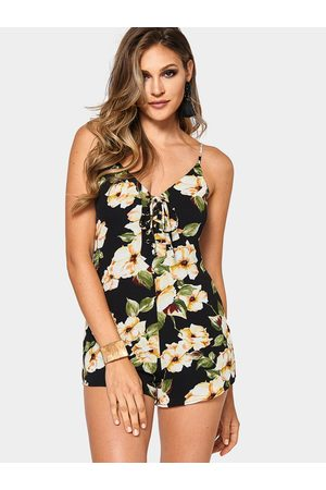 YOINS Sexy V-neck Random Floral Print Lace-up Playsuit