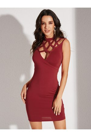YOINS Women Midi Dresses - Burgundy Criss-cross Cut Out Sleeveless Dress