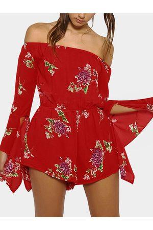 YOINS Women Long Sleeve - Long-Sleeved Off The Shoulder Random Floral Print Playsuits