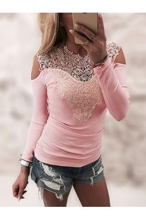 YOINS Women Long Sleeve - Lace Insert Cold Shoulder Long Sleeves Sexy T-shirt