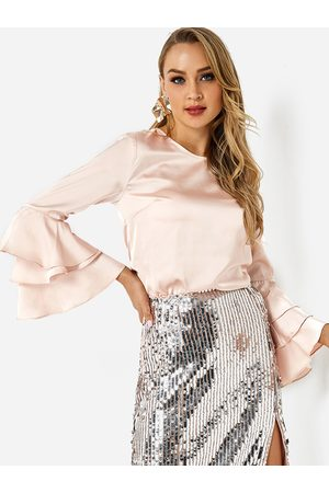 YOINS Pale Round Neck Long Bell Layer Sleeve Satin Top