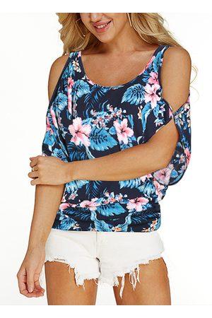 YOINS Navy Random Floral Print Cold Shoulder Tie-up At Back T-shirt