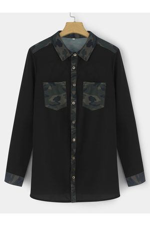 YOINS Casual Camouflage Print Button-down Shirts
