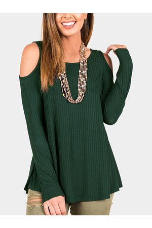 YOINS Knitted Cold Shoulder Long Sleeves Casual Top