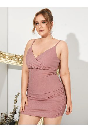 YOINS Plus Size V-neck Pleated Design Spaghetti Strap Sleeveless Mini Dress