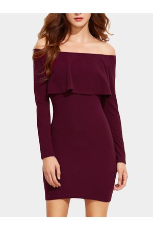 YOINS Off-The-Shoulder Ruffle Details Bodycon Mini Dress