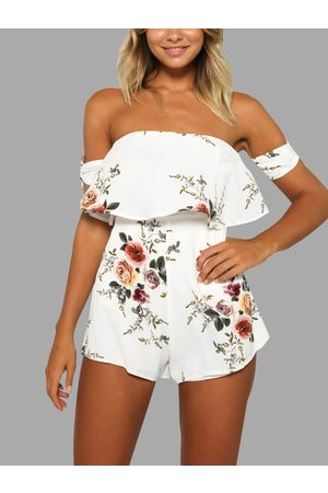 YOINS Women Playsuits - White Random Floral Print Self-tie at Sleeves Playsuit